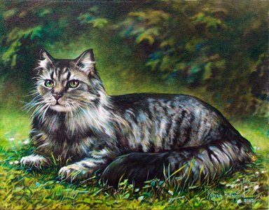 Tails The Cat-Original Oil Painting by Kathryn Rutherford-Heirloom Art Studio